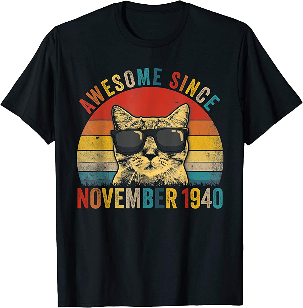 Awesome Since November Cat Lover 1940 79th Birthday Gift T-shirt