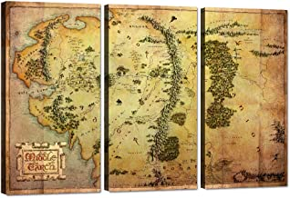 3 Piece Wall Art The Hobbit Map Canvas Painting Lord of the Rings Map Picture Map of Middle Earth Poster HD Print Home Dec...