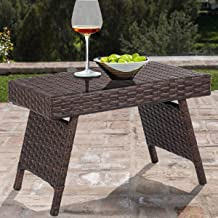 Ideal Durable, Weather-Resistant Resin and Open-Weave Material Decor Perfect Folding PE Rattan Side Coffee Table Patio Garden Furniture