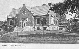 Spencer Iowa birds eye view outside public library antique pc Z22474