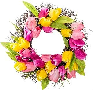 18 inch Tulip Wreath Door Wreath,Artificial Flower Tulip Floral Twig Door Wreath Spring Wreath for Front Door Mother Day's...