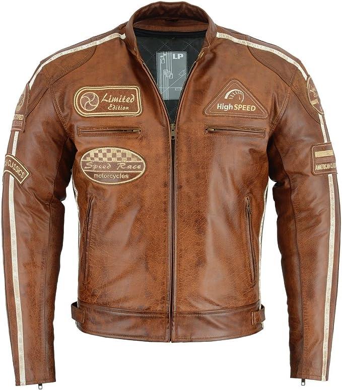 Bosmoto Herren Retro Biker Lederjacke Motorrad Jacke Race Streifen Rockerjacke Chopper Xl Auto