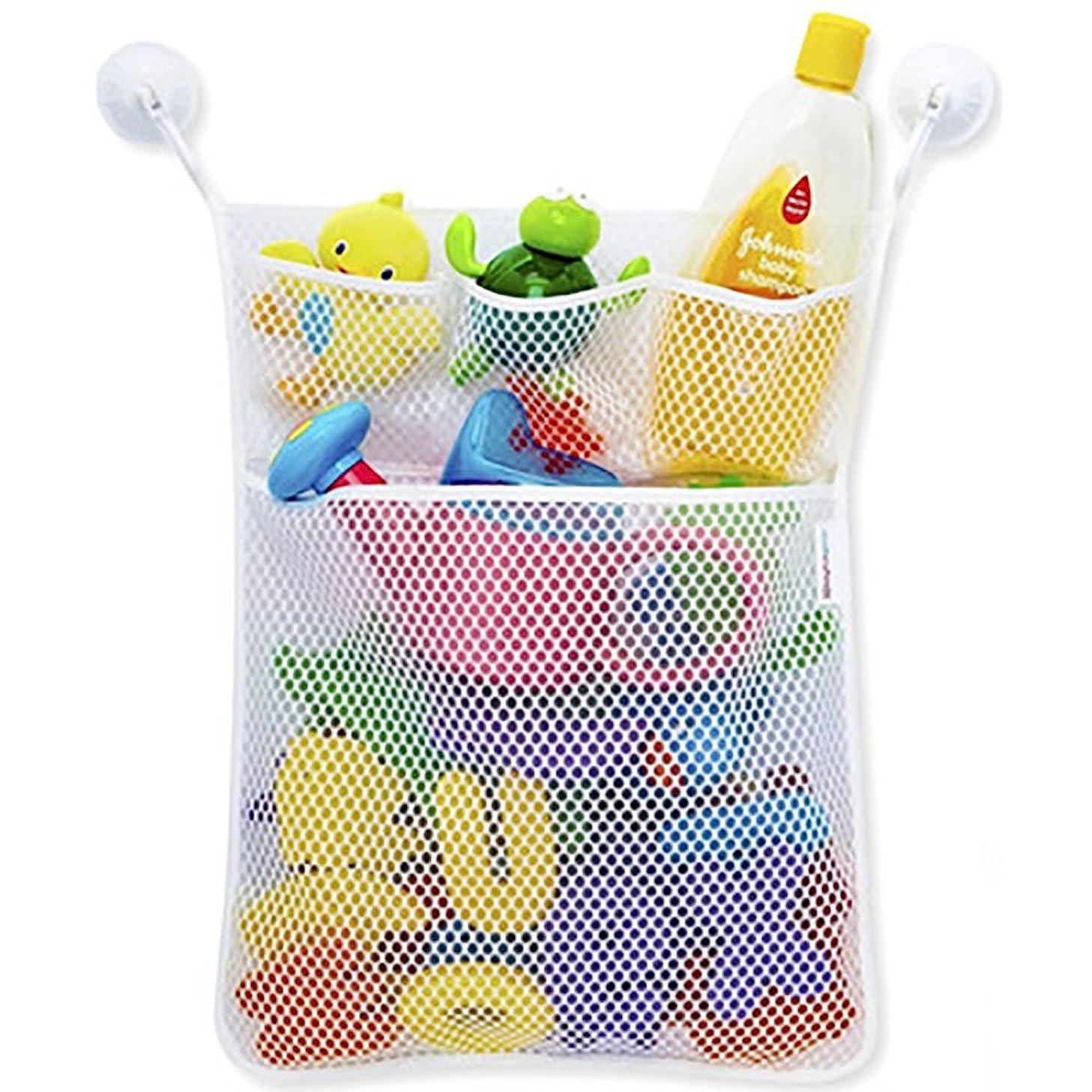 Transer Baby Toy Mesh Storage Bag Bath Bathtub Doll Washable Organize Bag with Suction Cup (White)