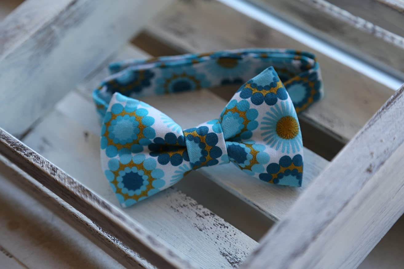 Blue Flowers Bow Tie (Blue, Navy, Turquoise, Gold & White)