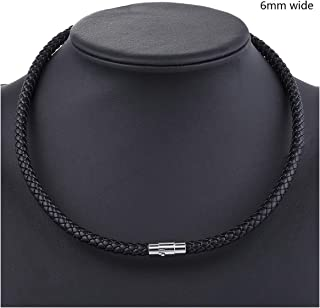 Thin Brown Black Braided Cord Rope Man Made Leather Necklace for Men Choker Silver Tone Stainless Steel Clasp 4/6/8mm,6mm Black,28inch 70cm