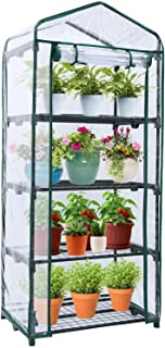 Mini Greenhouse for Indoor Outdoors, Ohuhu Small Plant Greenhouses with 4-Tier Shelf, Portable Green House with Improved T...