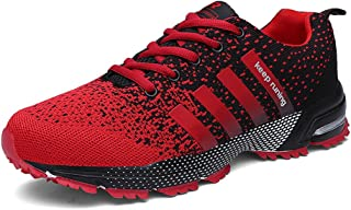 KUBUA Mens Running Shoes Trail Fashion Sneakers Tennis Sports Casual Walking Athletic Fitness Indoor and Outdoor Shoes for Men 10.5 B / 8.5 D F Red