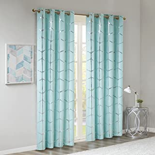 Madison Park Raina Total Blackout Metallic Print Grommet Top Window Curtain Panel Thermal Insulated Light Blocking Drape for Bedroom Living Room and Dorm, 50x84, Aqua/Silver