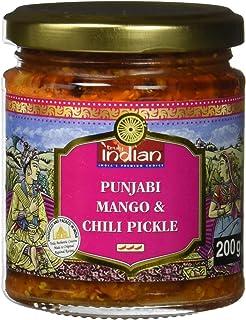 TRULY INDIAN Punjabi Mango & Chili Pickle, Würziges & scharfes indisches Relish mit traditionell eingelegter Mango & grüner Chili, Als würziger Dip oder Fertigsauce 6 x 200 g