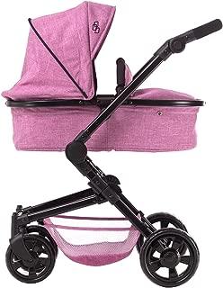 TRIOKID 2 in 1 Deluxe Baby Doll Stroller Sportline X1 Grape Purple Drawable Fabric with Swiveling Wheels & Adjustable Handle