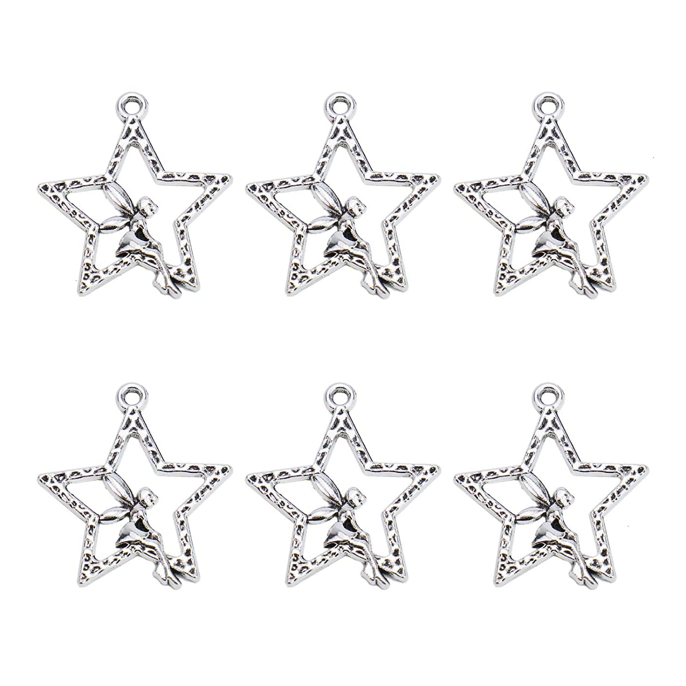 Monrocco 50pcs Antique Silver Charms Fairy Angel Star Tibetan Pendant Jewelry Findings Accessories for Jewelry Making Necklace Bracelet DIY (29x25mm)