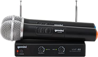 Gemini VHF-02M Professional Audio DJ Equimpent Dual Channel Wireless VHF System and Handheld Microphones (Set of 2) with 100ft Opereating Range