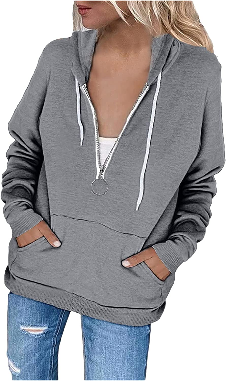 Womens Tops Full/Half Zipper Hoodies Solid Color Sweatshirts Lightweight Drawstring Fashion Clothes