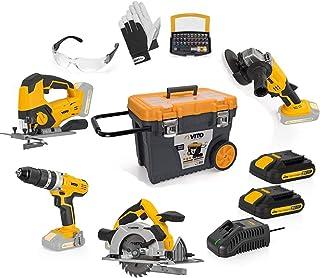 VITO Professional 20 V batteri 2,0 Ah verktygssats (PowerPack3) kombinationssats batteristicksåg, skruvmejsel, vinkelslip,...