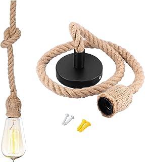 Lampara Cuerda E27 100 cm Lampara Cuerda Techo Lámpara Cuerda Vintage para Iluminación Colgante para Comedor Sala Rest...
