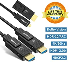 BIFALE HDMI Fiber Optic Cable 50ft 4K HDR 60Hz, Fiber HDMI Cable 2.0b ARC, HDCP2.2, 3D, 18Gbps Subsampling 4:4:4/4:2:2/4:2:0 Slim and Flexible Fiber Optic HDMI Cable with Dual Micro HDMI