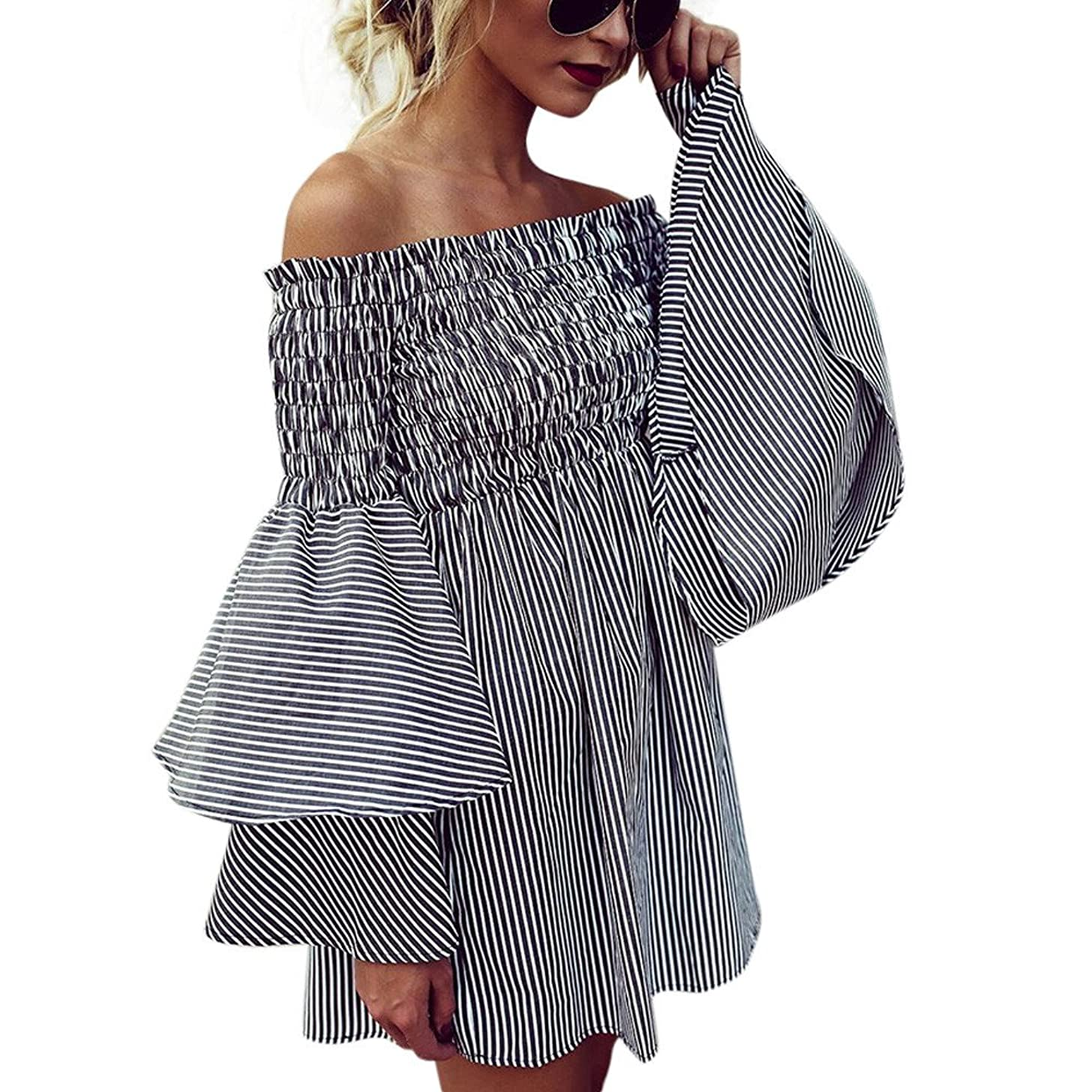 Gerichy Women Off Shoulder Striped Ruffles Mini Dress Casual Holiday Beach Sexy Mini Party Dress