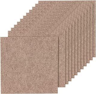 山五 滑り止め 吸着加工 洗えるカーペット 薄手 ブラウン色 12枚入り 35×35cm