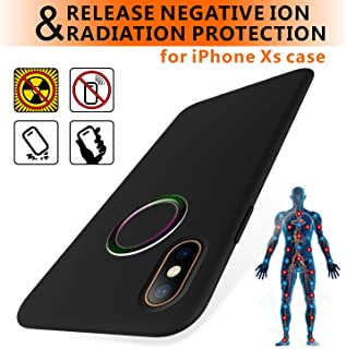 TAGCMC EMF Series iPhone XS Case/iPhone X Case, Liquid Silicone Gel Rubber Shockproof Case Soft Microfiber,EMF Protection Radiation&Release Negativeion case Compatible with iPhone X/XS 5.8 inch, Black