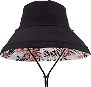 Maylisacc Cotton Linen Wide Brim Bucket Hats for Women Foldable Beach Sun Protection Hats with Chin Strap