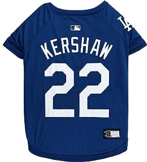 تي شيرت MLBPA CLAYTON KERSHAW #22 للكلاب والقطط. تي شيرت كلاب بشعار فريق لوس أنجلوس دودجرز التابع لدوري كرة القاعدة الرئيس...