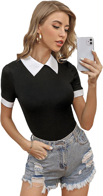 Floerns Women's Colorblock Contrast Collar Short Sleeve Tee Shirt Bodysuit