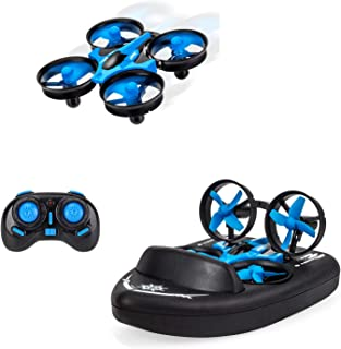 Mini Drone for Kids,Remote Control Boats for Pools and Lakes, RC Car for Kids or Adults,JJRC H36F 3-in-1 Sea-Land-Air Mode Switchable Waterproof Hovercraft Toy RC Quadcopter