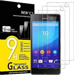 NEW'C 3-pack skärmskydd med Sony Xperia M5 – Härdat glas HD klar 9H hårdhet bubbelfritt