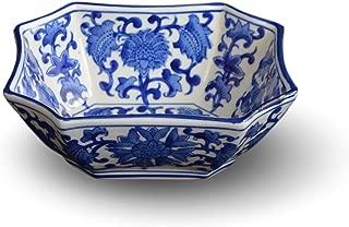 Blue and White Long Octagon Serving Bowls, Salad Bowls, Fruit Bowls (7