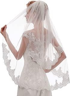 EllieHouse Women's Short 2 Tier Mantilla Lace Wedding Bridal Veil With Metal Comb L65