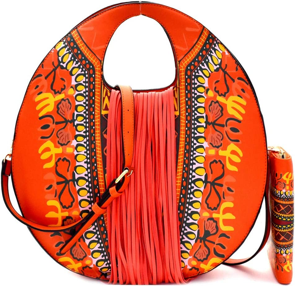 Dashiki ! Super beauty product restock quality top! Ethnic Print 2021new shipping free Vegan Leather Satchel Round Fringed Clutch