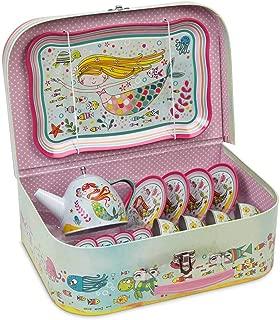 Jewelkeeper 15 Piece Kids Pretend Toy Tin Tea Set & Carry Case - Mermaid Design
