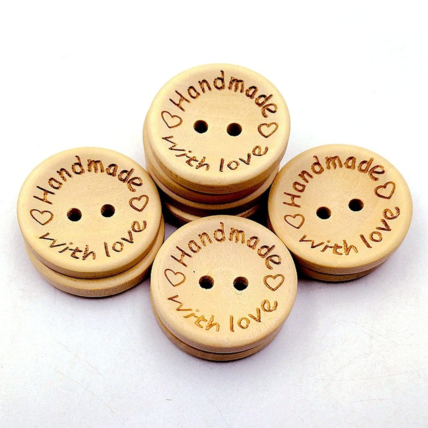100pcs Wooden Handmade with Love Round Crafts Decor 2 Holes Wooden Sewing Buttons,15MM xbakxox083547
