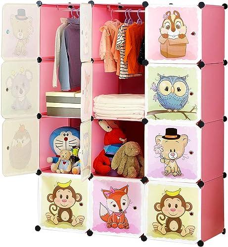 BRIAN & DANY Meuble Rangement Enfant avec Motifs d'animaux, Support de Rangement, Armoires Etagères Plastiques, Armoi...