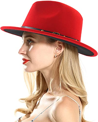 wholesale OPTIMISTIC Mens & Womens Retro Wide Brim Floppy Panama outlet sale Hat Belt 2021 Buckle Wool Fedora Hat Black and Red Two Tone Felt Panama Hat outlet online sale