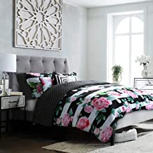 Studio8 Brand - Love Printed Comforter Set - 6 Piece - Pinks/Greens/Black/White - Handpainted Floral Design - Full/Queen Size, Includes 1 Comforter, 2 Shams, 3 Decorative Pillows - Easy Care