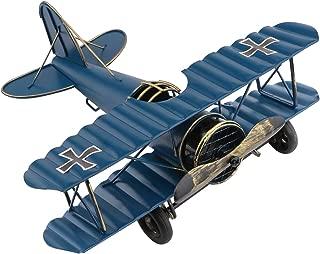 Dedoot Vintage Airplane Model Metal Handicraft, Decorative Airplane Wrought Iron Aircraft Biplane for Photo Props, Christmas Tree Ornament, Desktop Decoration, Blue