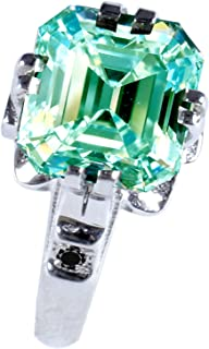 Silver Plated Emerald Moissanite Engagement Ring Size 7 (3.22 Ct,Blue Green Color,VVS1 Clarity)