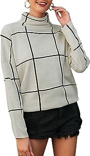 Zandiceno Women's Elegant Plaid Turtleneck Knit Pullover Sweaters Warm White Sweater Fashion Office Tops