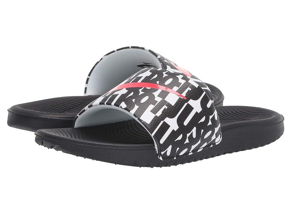 Nike Kids Kawa Slide Print (Little Kid/Big Kid) (Black/Bright Crimson/White) Boys Shoes