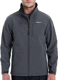 Clothin Men's Softshell Jacket Windproof Front-Zip Fleece-Lined Ski Insulated Coat