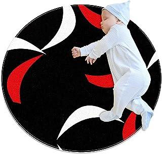 Röd vit abstrakt svart bakgrund, barn rund matta polyester överkast matta mjuk pedagogisk tvättbar matta barnkammare tipi ...