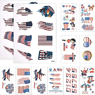 Cosweet 12 Pcs American Flag Temporary Tattoo Best for 4th of July Party Supplies, Independence Day Patriotic Party Accessories