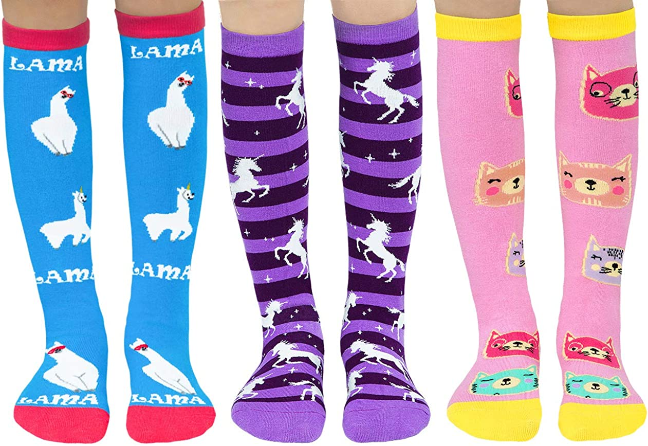Girls Kids Knee High Novelty Funny Animal Unicorn Cat Llama Striped Crazy Socks