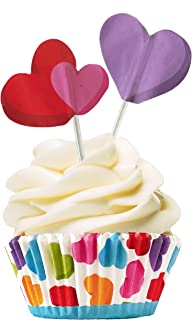 Rainbow Cupcake Baking Liners and Heart Topper Picks - Valentine's Day or Birthday Party - 24 Cups and 24 Picks