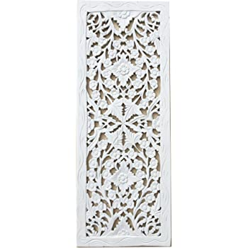 """Large Carved Wood Wall Panel. Floral Wood Carved Wall Decor. Size  5.5""""x5.5""""x5.5"""" (White)"""