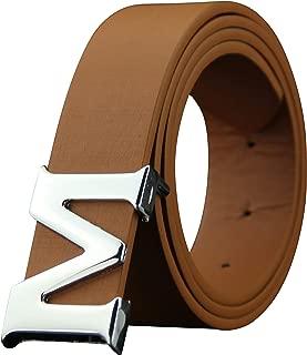 Leather Mens Belts Removable Letter M Plate Buckle Waist Belt 1.29