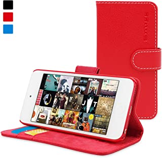 iPod Touch Case, Snugg Red Leather Flip Case [Card Slots] Executive Apple iPod Touch Wallet Case Cover and Stand - Legacy Series