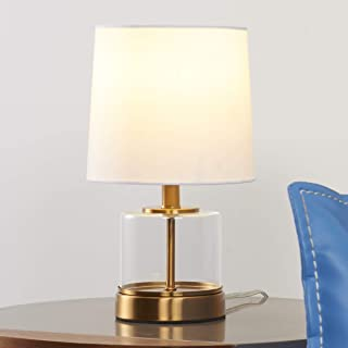Tayanuc Small Accent Glass Gold Table Lamp, Nightstand Side Desk Lamp with White Fabric Drum Shade and Clear Glass Brass Base for Bedroom Living Room Bedside