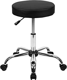Flash Furniture HERCULES Series Black Backless Medical Doctor Stool with Antimicrobial / Antibacterial Vinyl, Molded Foam Seat and Chrome Base